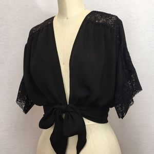 Sexy black lace tie front top/overlayer- M
